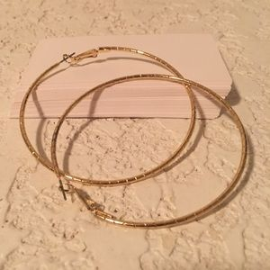 Goldtone plated thin textured hoops
